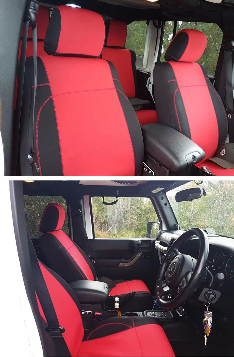 jeep wrangler unlimited 2007 10 neoprene full set red seat cover 4 dr no4djp ebay. Black Bedroom Furniture Sets. Home Design Ideas