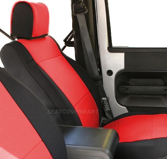 Jeep Wrangler 2007-10 neoprene Sahara Sport JK Front seat cover Red yesFrt